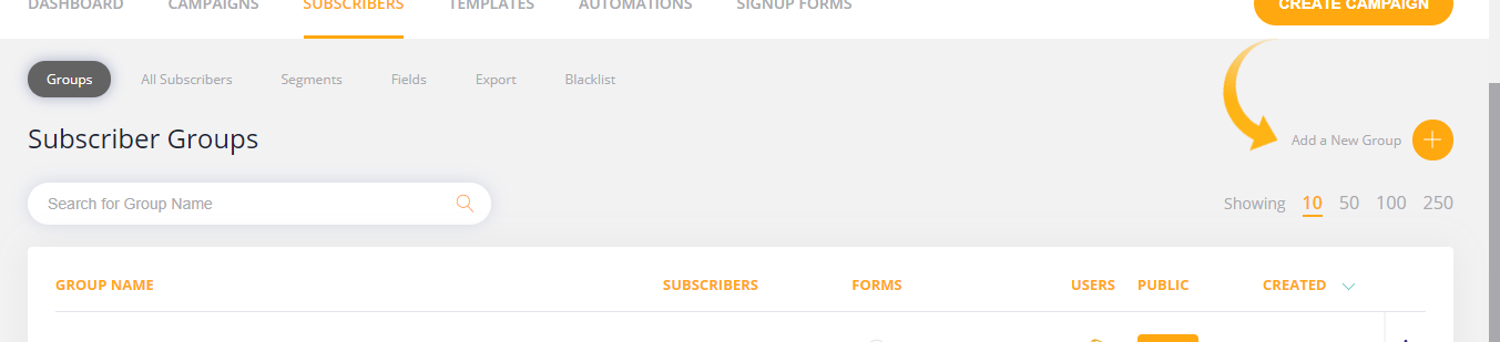 Adding a New Subscriber List to My Website